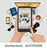 hand holding mobile phone and... | Shutterstock .eps vector #623705000