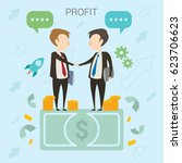 businessman deal vector... | Shutterstock .eps vector #623706623