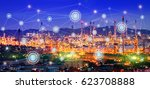 oil refinery at twilight with... | Shutterstock . vector #623708888
