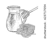 hand drawn set of milk jug and...   Shutterstock .eps vector #623717054