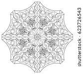 circle mandala  adult coloring... | Shutterstock .eps vector #623726543