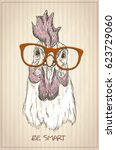 hen or rooster graphic portrait ... | Shutterstock .eps vector #623729060