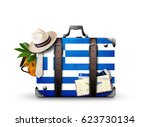 greece  vintage suitcase with... | Shutterstock . vector #623730134