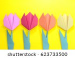 origami bright colored tulip... | Shutterstock . vector #623733500