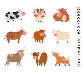 bulls cows farm animal... | Shutterstock .eps vector #623733830
