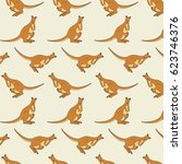 australian kangaroo animals.... | Shutterstock .eps vector #623746376