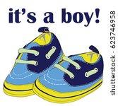 newborn shoes for boy. it's a... | Shutterstock .eps vector #623746958
