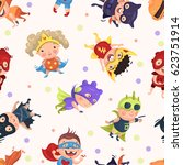 pattern with kids super fun... | Shutterstock .eps vector #623751914