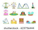 amusement park for children... | Shutterstock .eps vector #623756444