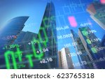 Small photo of Economy, business, financial background. Economy concept collage, office buildings and skyscrapers at background, stock market charts and data. Blue background for global economy, financial themes.