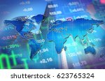 Small photo of Economy concept collage with world map at background of stock market charts and skyscrapers. Blue background for global economy themes and financial news.