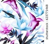 seamless tropical flower  plant ... | Shutterstock . vector #623771468