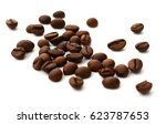 coffee beans isolated on a... | Shutterstock . vector #623787653