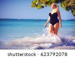 young plus size woman in... | Shutterstock . vector #623792078