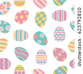 easter seamless pattern with... | Shutterstock . vector #623792810