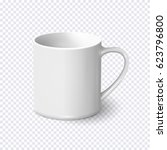 realistic white coffee mug... | Shutterstock .eps vector #623796800