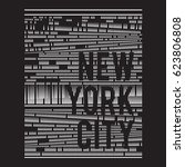 pattern of  new york typography ... | Shutterstock .eps vector #623806808