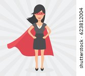 super woman. symbol of female... | Shutterstock .eps vector #623812004