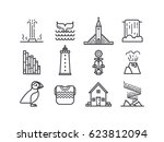 iceland icons.  main country... | Shutterstock .eps vector #623812094