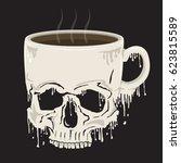 mug coffee skull illustration ... | Shutterstock .eps vector #623815589