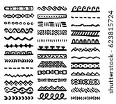 collection of hand drawn... | Shutterstock .eps vector #623815724