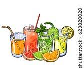 orange  grapefruit  lime  lemon ... | Shutterstock .eps vector #623820020