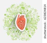 human heart concept about... | Shutterstock .eps vector #623824814