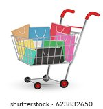 group of a paper shopping bag...   Shutterstock .eps vector #623832650