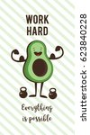 poster of happy avocado... | Shutterstock .eps vector #623840228