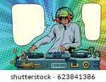 dj boy party mix music. pop art ... | Shutterstock .eps vector #623841386