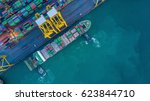 container cargo ship in import...   Shutterstock . vector #623844710
