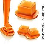 caramel isolated on white... | Shutterstock .eps vector #623844983