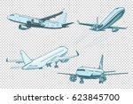 set of passenger airplanes. air ... | Shutterstock .eps vector #623845700