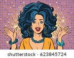 joyful spectacular glamour girl.... | Shutterstock .eps vector #623845724