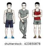 handsome young men posing in... | Shutterstock . vector #623850878