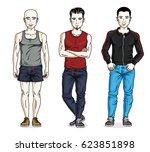 handsome young men posing in... | Shutterstock . vector #623851898
