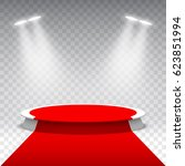 white round podium with red... | Shutterstock .eps vector #623851994