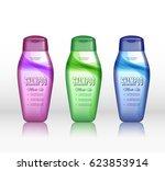 set of realistic shampoo bottle ... | Shutterstock .eps vector #623853914