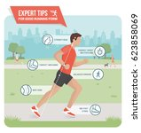 proper running form and sports... | Shutterstock .eps vector #623858069