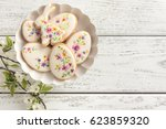 colorful easter biscuits.... | Shutterstock . vector #623859320