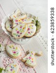 colorful easter biscuits.... | Shutterstock . vector #623859338