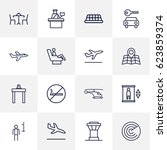 set of 16 land outline icons... | Shutterstock .eps vector #623859374