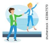 happy couples in love concept.... | Shutterstock .eps vector #623867570