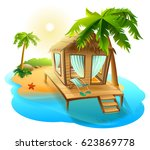 beach vacation. thatched hut... | Shutterstock .eps vector #623869778
