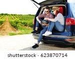 summer car trip  | Shutterstock . vector #623870714