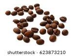 roast coffee beans on white... | Shutterstock . vector #623873210