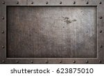 old metal frame background 3d... | Shutterstock . vector #623875010