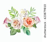watercolor.white roses on white ... | Shutterstock . vector #623879810