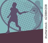 tennis player female vector... | Shutterstock .eps vector #623884208