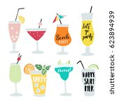 set of hand drawn alcoholic... | Shutterstock .eps vector #623894939